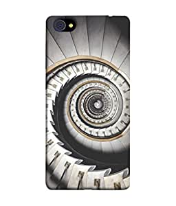 PrintVisa Designer Back Case Cover for Vivo X7 (White Black Spiral Monochrome Staircase Abstract Beautiful Photography)
