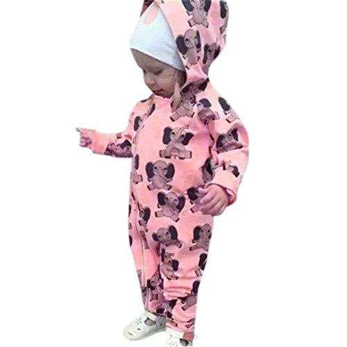 Kleinkind Neugeboren Elefant Mit Kapuze Strampelhöschen Hirolan Baby Beiläufig Stil lange Hülse Jungen Mädchen Overall Outfits Kleider (90cm, Rosa)