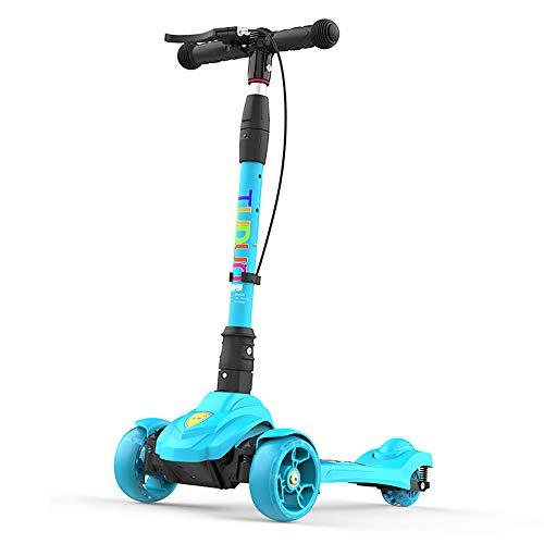 BAAYD, Kinder Scooter LED-Blitz Faltbarer Single-Roller 3-15 Jahre Junge und Mädchen höhenverstellbar 3 Wheeler schwarz, blau, pink, rot Rock-Blue