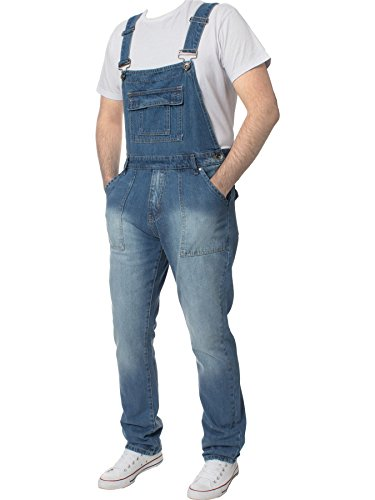 Ze ENZO Mens Denim Dungarees Stonewash Dungaree by enzo Jeans Relaxed Fit All Waist 30-50