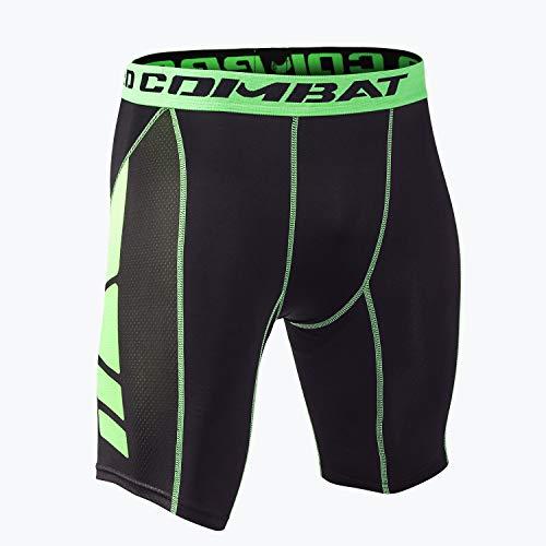 Hivexagon Pantalones Cortos de Compresión de Media Pierna para Deportes, Correr y Entrenamiento de Gimnasio SM008GNL