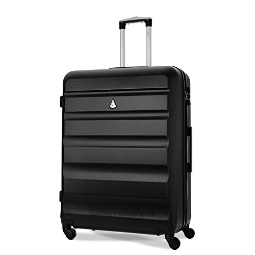 Aerolite ABS Hartschale 4 Rollen Leichtgewicht Handgepäck Kabinenkoffer mit eingebautem TSA Schloss, Genehmigt für Ryanair, British Airways & Viele Mehr, 79cm, Schwarz