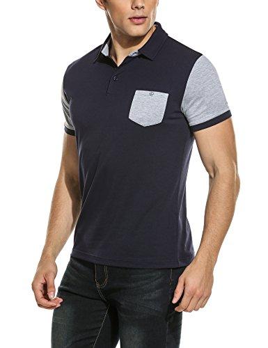 HOTOUCH Herren Poloshirt Kurzarm Polohemd Kontrastfarben Casual Shirts Button Hemd Typ1-Dunkel Blau