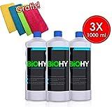 BIOHY Allzweckreiniger (3 x 1 litre) Nettoyant tout usage concentré BIO / Nettoyant universel, Nettoyant ménager professionnel, Produit de nettoyage sans étiquette, durable et économique