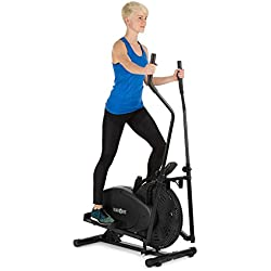 Klarfit Orbifit Basic - Máquina de Correr elíptica , Bicicleta elíptica , Manillar con Altura Regulable , Estructura de Acero , Agarre Acolchado , Pedales Antideslizantes , hasta 100 kg , Negro