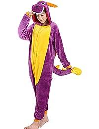 DUKUNKUN Pijamas De Adultos Dragón Traje De Pijamas De Franela Juego De Roles Púrpura para Animal