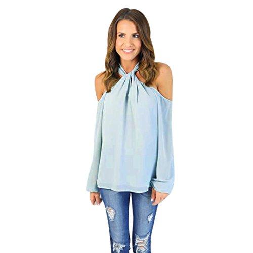 Hemd damen Kolylong® Frauen aus Schulter elegante Chiffon Bluse Sommer trägerlose T-Shirt Hemd tank tops (XXL, Rosa) blau