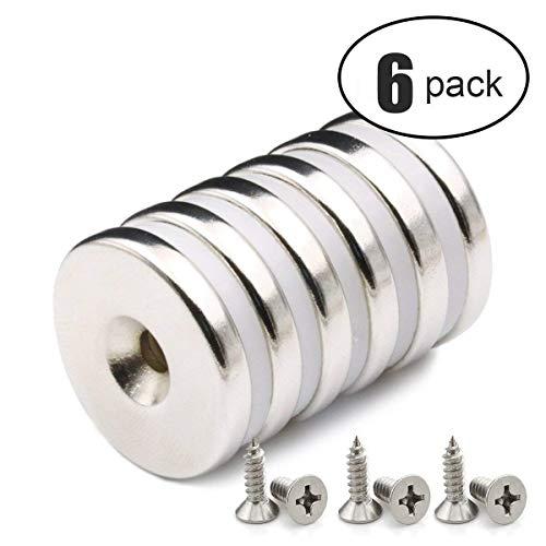 6 PACK Neodym Disc Senkerodiermagnete, 32 x 5 mm, Stark, Permanent, Rare Earth Magnete Mit 6PACK Schrauben für Handwerk
