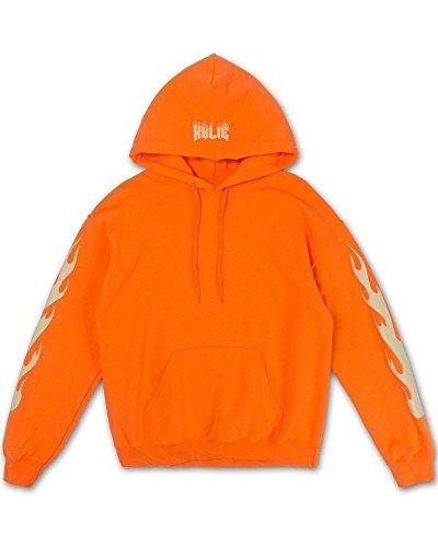 Kylie Flame Felpa Con Cappuccio Arancione Kylie Jenner Merch (M)