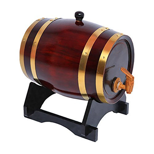 MagiDeal Weinfass mit Zapfhahn Schnapfass Whiskyfass 1.5L Geschenk Fass aus Holz - Weinrot, 158x 230mm