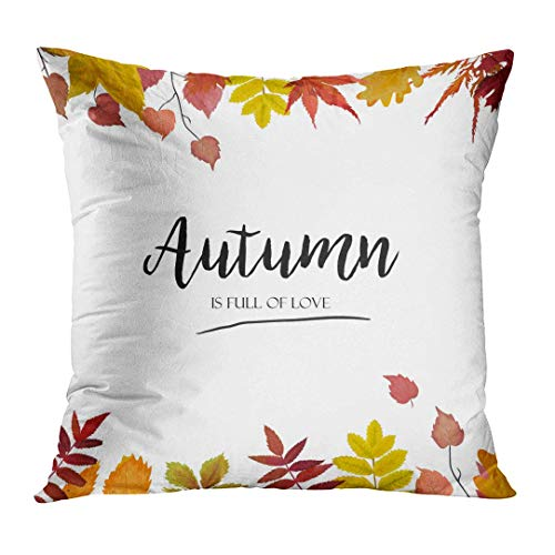 fdghjdyjdty Throw Pillow Cover Floral Watercolor Autumn Season Border Colorful Orange Yellow Burgundy Red Fall Leaves Forest Maple Oak Decorative Pillow Case Home Decor Square 18x18 Inches Pillowcase Oak Leaf Border