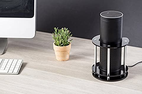 Speaker Stand for Amazon Echo, UE Boom and Other Models - Protect and Stabilize Alexa by Wasserstein (Black)