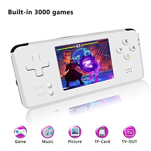 YLM Console di Gioco Portatile, Console di Gioco Retro Console di Gioco a 3 Pollici HD 3000 Schermo Classico, Sistema di intrattenimento Videogioco Portatile Grande Regalo per Bambini (Bianca)