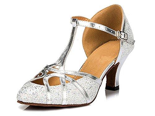 Honeystore Neuheiten Frauen's Funkelnde Glitzer Heels Sandalen Latin mit Schnalle Tanzschuhe Silber 36 CN (Leder High Converse Heels)