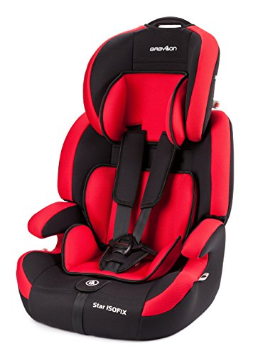 Babylon Star ISOFIX Silla de coche para niños 9-36 kg grupo 1-2-3, fabricada en Europa, color rojo