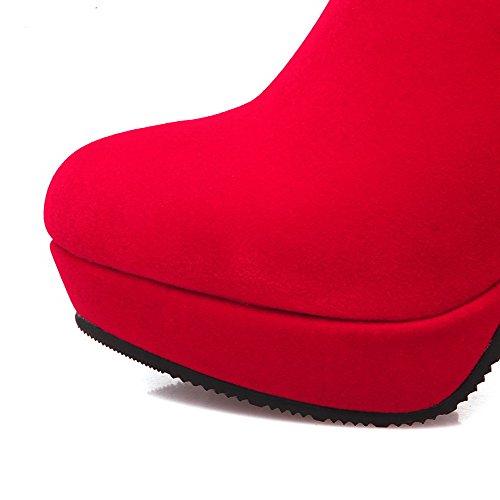 AllhqFashion Damen Hoher Absatz Rein Rund Zehe Mattglasbirne Reißverschluss Stiefel Rot