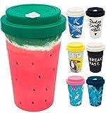 holi. Coffee-to-Go Bambus-Becher mit Schraubdeckel, Verschluss-Möglichkeit | Woodcup Kaffeebecher | Mehrweg-Becher Bamboo-Cup | lebensmittelecht, spülmaschinenfest (Wet Watermelon)