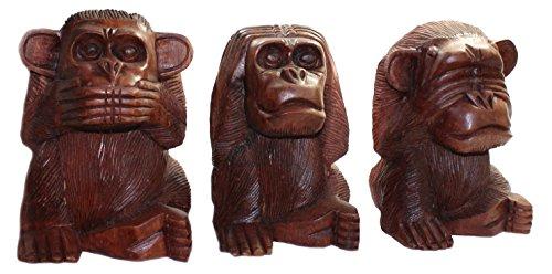 budawi-Deko & Schönes 3er Set Affen nichts Hören - Sehen - Sagen ca. 11 cm hoch, Affe Skulptur Figur aus Holz - 3 Schöne Holz
