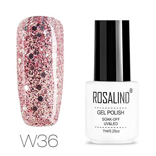 ROSALIND-Esmalte semipermanente de uñas de gel con purpurina de diamante, pintura de color súper brillante, para lámpara UV y LED