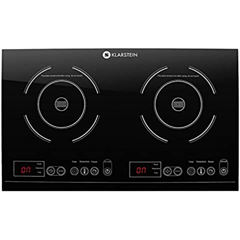 Klarstein VariCook XL Placa de inducción doble (3100W de potencia total, temporizador, botones táctiles, pantalla LED, diseño