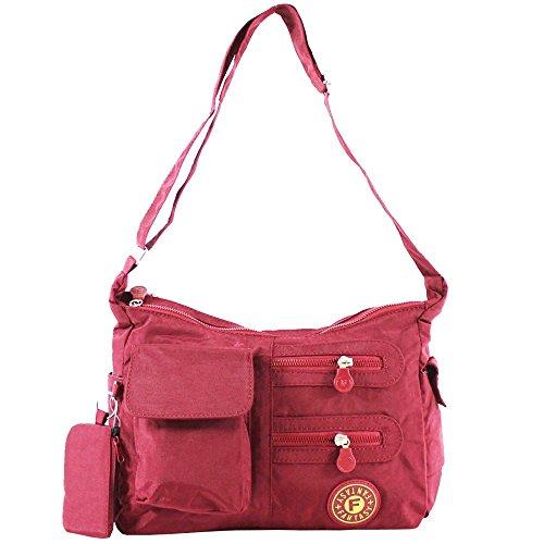 Hautefordiva , Damen Schultertasche 16 different colours Large, Nylon, beige, Large burgunderfarben