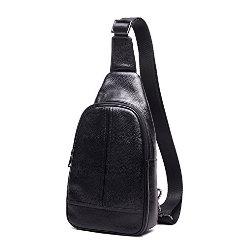 Echtes Leder Chest Pack Litchi Pattern Sling Schulter Messenger Bike Rucksack (Leder Hobo Echtes Sling-rucksack)
