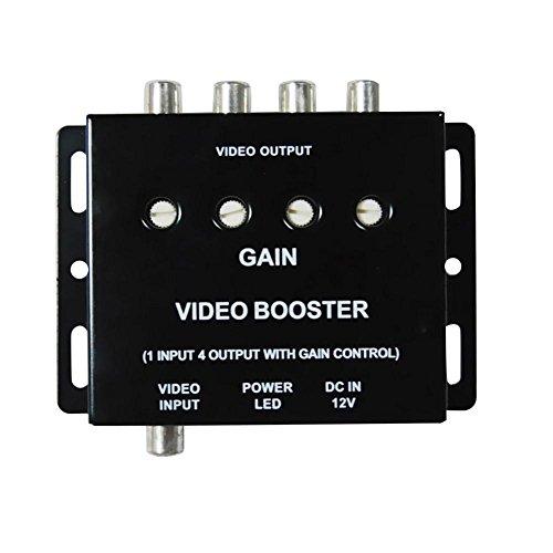 Asiproper 12V 1Eingang auf 4Ausgang RCA Auto DVD Video Booster Verstärker Splitter Box (Booster Video)