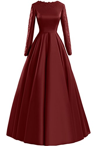 Sunvary pizzo A-line Scoop maniche lunghe, con scritta: Evening Dresses Party Gowns Burgundy