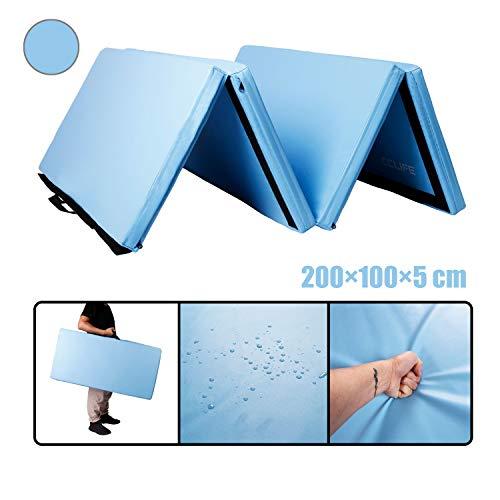 CCLIFE 200x100x5 Himmelblau Klappbare Weichbodenmatte Turnmatte Fitnessmatte Gymnastikmatte rutschfeste Sportmatte Spielmatte