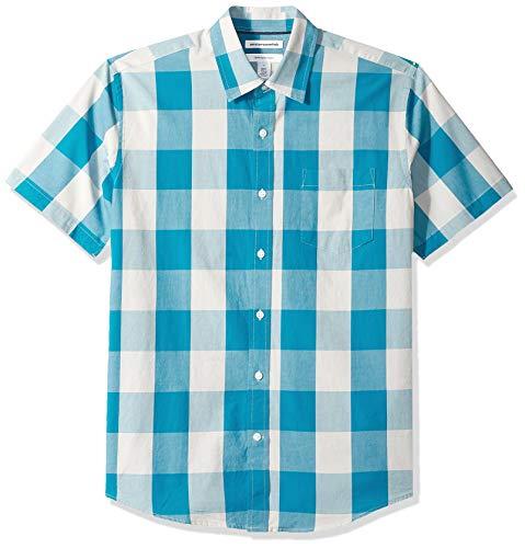Amazon Essentials Regular-Fit Short-Sleeve Stripe Shirt Buttondown-Hemd, Teal Buffalo Check, US S (EU S) Teal Buffalo