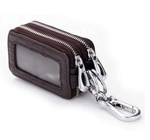 edfamily Echtes Leder Reißverschluss Schlüsselmäppchen Schlüsselanhänger KFZ Schlüssel Halter Tasche Etui (Coffee) (Coffee Leder Tasche)