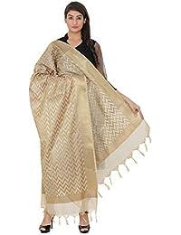 Devam Women's Cotton Silk blend Banarasi Dupatta(LH-2511 _Gold _Free Size)