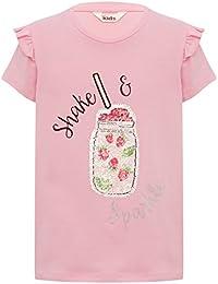 M&Co Girls Cotton Rich Pink Short Sleeve Frill Shoulder Two Way Sequin Drink Design T-Shirt
