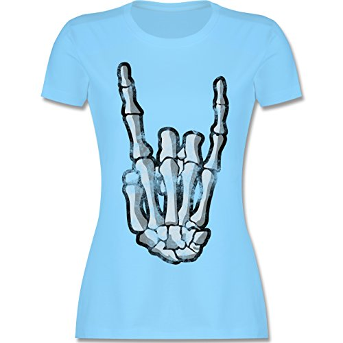 Shirtracer Metal - Metal Horns Skelett Hand - Damen T-Shirt Rundhals Hellblau