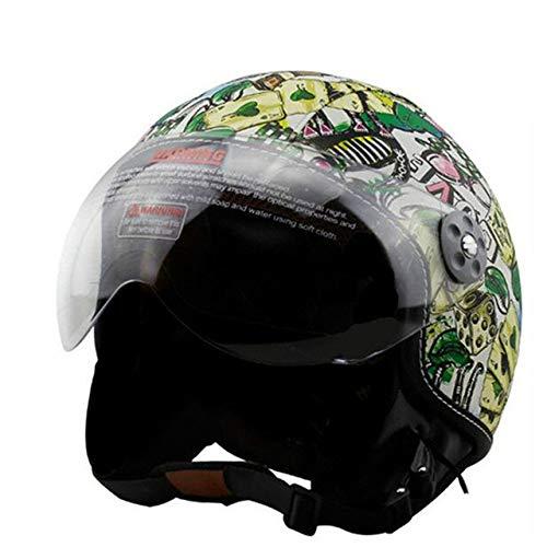 Braun Neue Synthetische Motorradhelm Retro Vintage CruiserRoller Cafe Racing Motorradhelm Offene Maske Helm VOSS Brands L