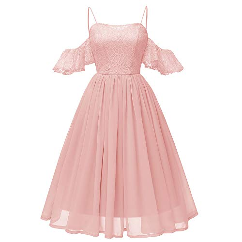 intage Prinzessin Blumenspitze Chiffon Rock Cocktail O-Ausschnitt Party A-Line Swing Kleid (S,Rosa) ()