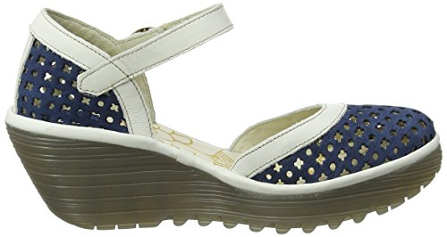 FLY London Yadu732, Sandales Compensées   Femme Bleu (Blue/Off White 003)