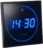 Lunartec Wanduhr nachtleuchtend: LED-Funk-Wanduhr mit Sekunden-Lauflicht durch blaue LEDs (Leuchtuhr)