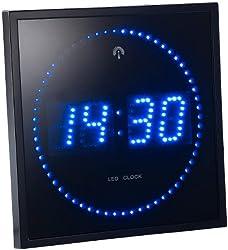 Lunartec Digitale Wanduhr LED: LED-Funk-Wanduhr mit Sekunden-Lauflicht durch Blaue LEDs (Digitale LED-Uhr mit Funk)