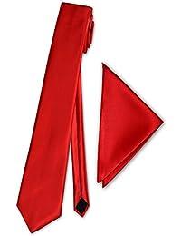 PABLO CASSINI Cravate Mince 5cm avec Mouchoir - 35 couleurs - Solide Pour Mariage