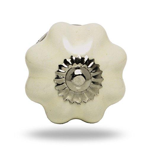 Pomello Melone in ceramica piccolo Off Bianco Finitura cromata Anna Porta manopola,tira maniglia per Cassetti Armadio da Trinca-Ferro
