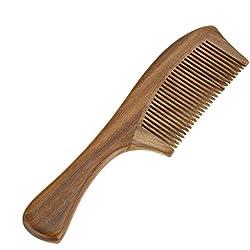 Anself Peine para cabello de madera de sándalo natural hecho a mano