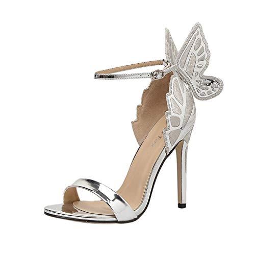 Lilicat Donna Scarpe col Tacco Semplice Pump Shoes Elegante con DéColleté Donna Tacco A Spillo Alto Scarpe Punta Chiusa Tacchi Alti in Lady Wings Tacchi Alti(Argento,39 EU)