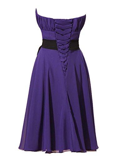 Dressystar Robe de demoiselle d'honneur/soirée/bal bustier courte,avec une Ceinture, en Mousseline Menthe