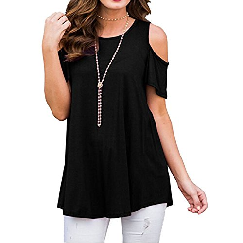 0728d86a6726 Damark(TM) Women T-Shirt Short Sleeve Ladies Strappy Cold Shoulder Summer Tops  Clothes for Women Shirts Blouse Sale Clearance (X-Black, L) - Buy Online in  ...