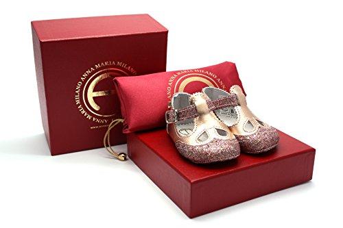 Anna Maria Milano - Scintillina - scarpine neonato - taglia 20 - colore cipria e oro
