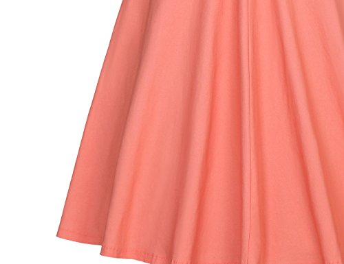 MUXXN Damen 1950er Boot-Ausschnitt Muster Hanhnentritt Party Swing Kleid Pink