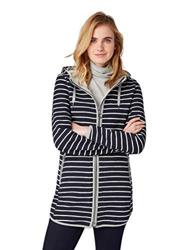 TOM TAILOR für Frauen Strick & Sweatshirts Lange Sweatjacke mit Kapuze Navy horizontal Stripe, XL