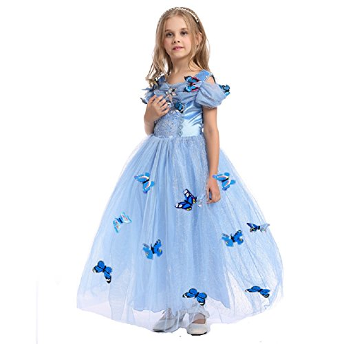 URAQT Girls Princess Dresses Blue Butterfly Queen Costume Tulle Dress Fancy Wedding Dress Cinderella Skirt