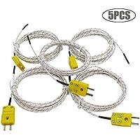 5 conectores tipo K con sensor de temperatura de rango de medición -50~350 °C; longitud del cable: 3 metros